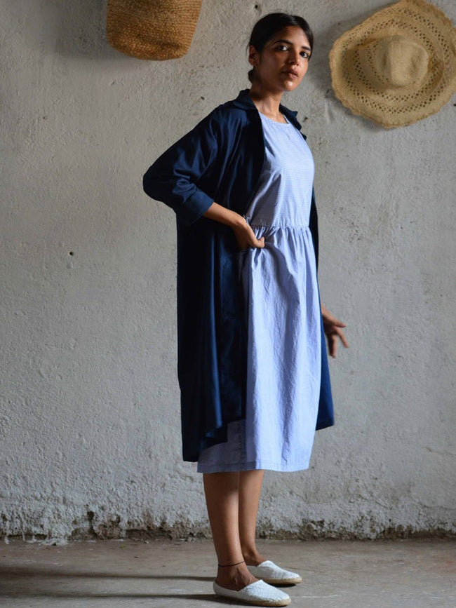 Pin striped blue midi length dress - DRESSES - IKKIVI - Shop Sustainable & Ethical Fashion