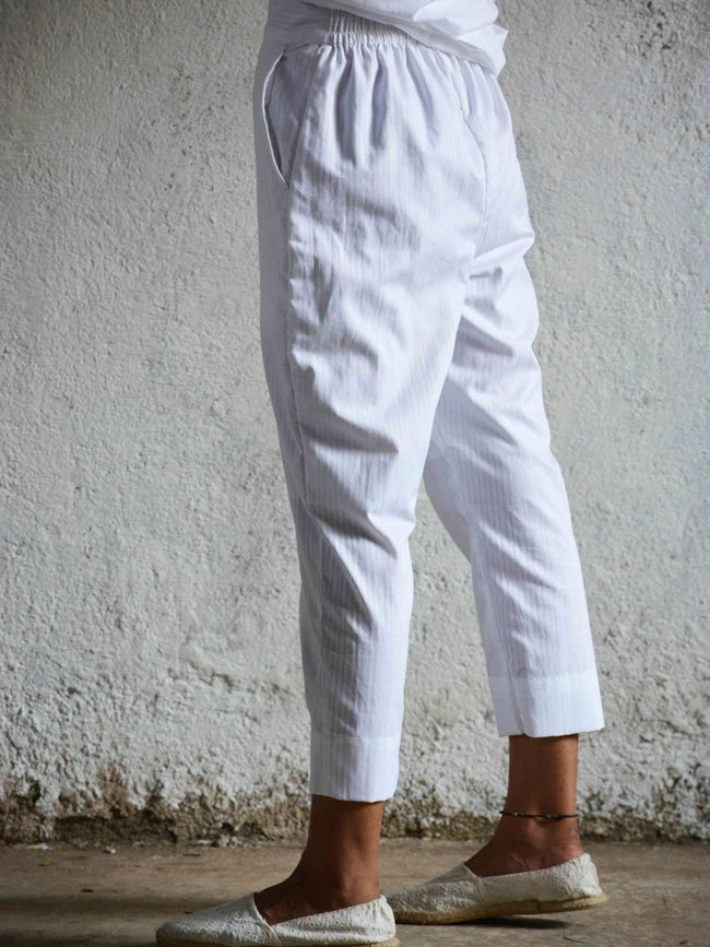 Cropped tapered trousers with self woven stripes - BOTTOMS - IKKIVI - Shop Sustainable & Ethical Fashion