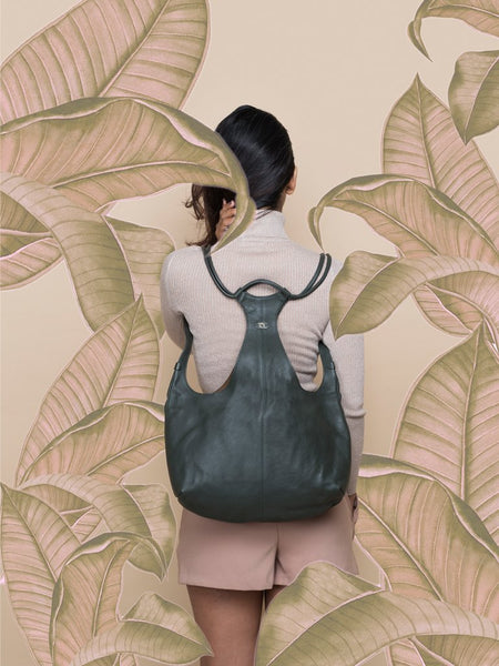 moss green sustainable leather tang backpack image