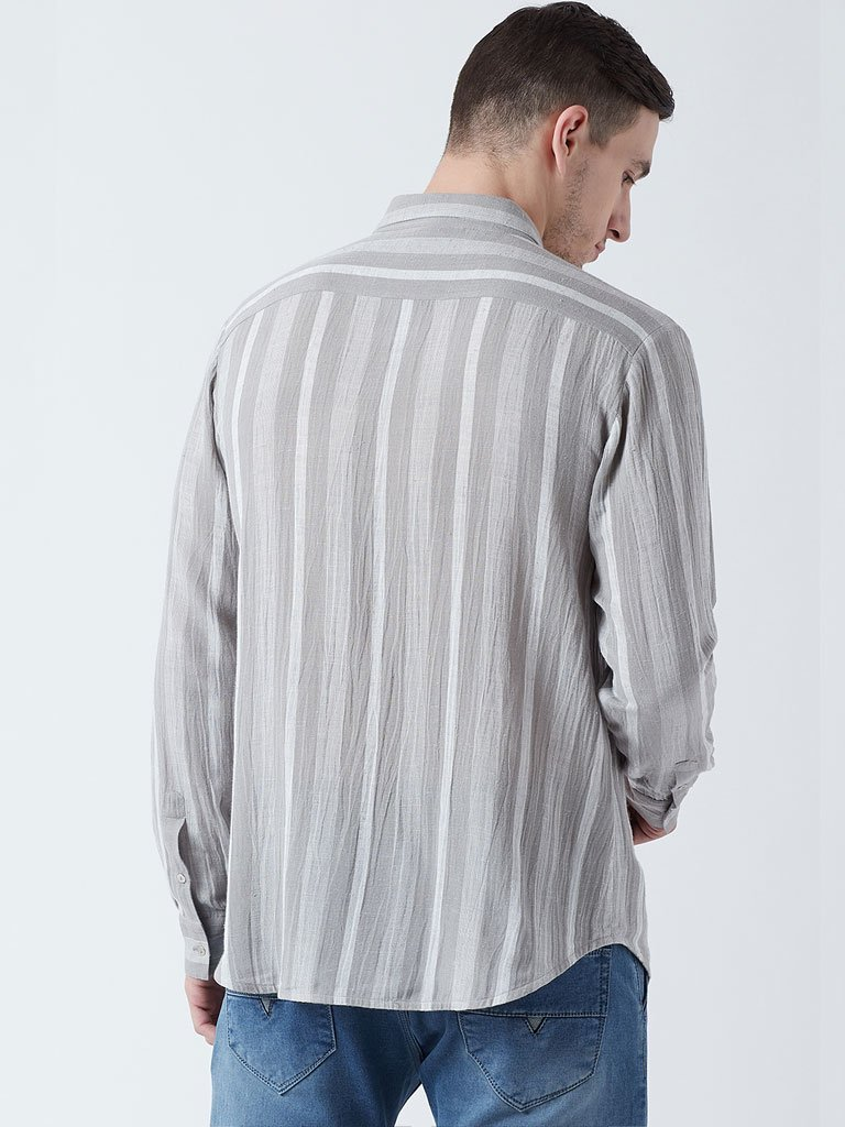 Paneled Striped Shirt