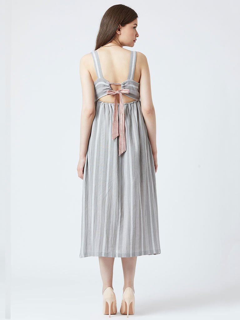 Striped Bow Dress - DRESSES - IKKIVI - Shop Sustainable & Ethical Fashion