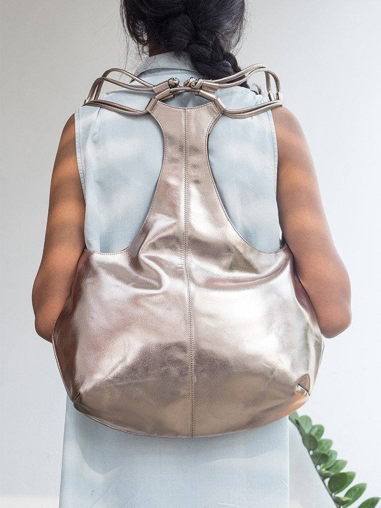 moss green sustainable leather tang backpack image 6