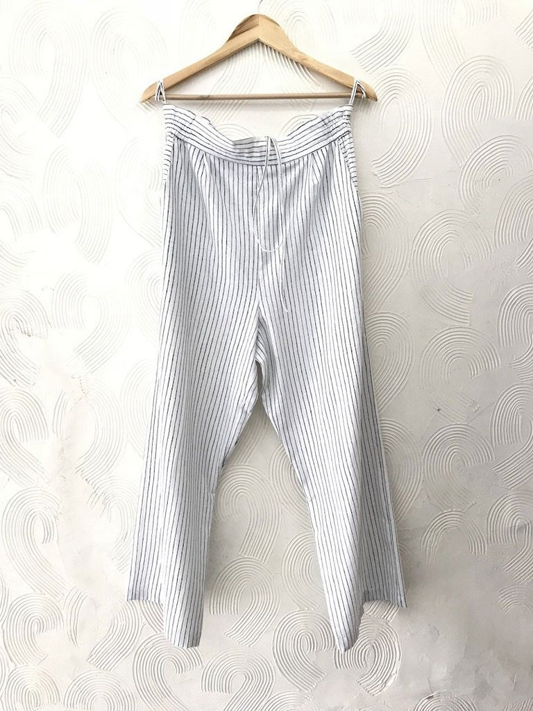 White Stripe Pants - SKIRTS & TROUSERS - IKKIVI - Shop Sustainable & Ethical Fashion