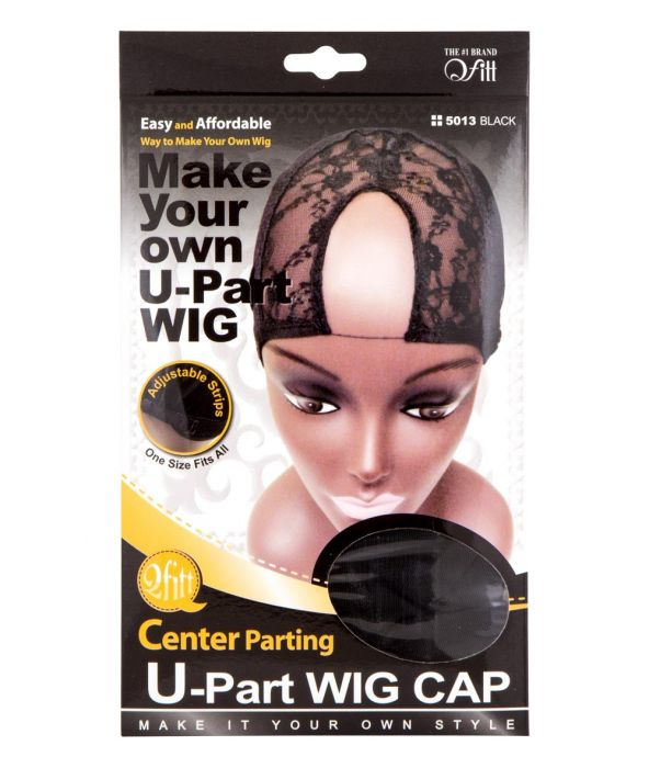M&M Headgear U-Part Wig Cap - Center Parting, Black