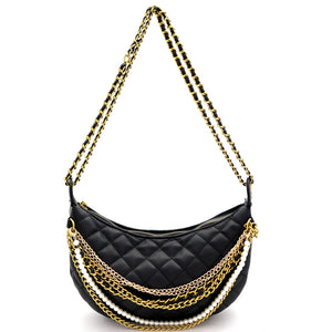 Pearls & Chains Quilted Shoulder Bag