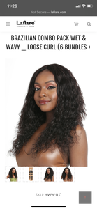 Laflare Wet & Wavy Loose Curl Human Bundle 3pc + Closure