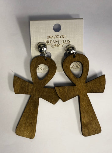 Wooden Ankh Dangle Earrings
