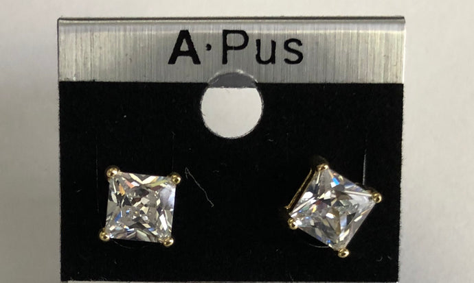 Square Lead Free Rhodium Plated Stud Earrings (Small)