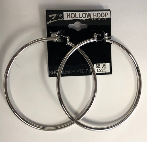 Silver Hollow Hoop Earrings (Large)