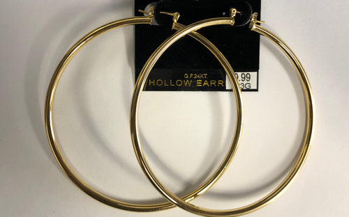Gold Hollow Hoop Earrings (Large)