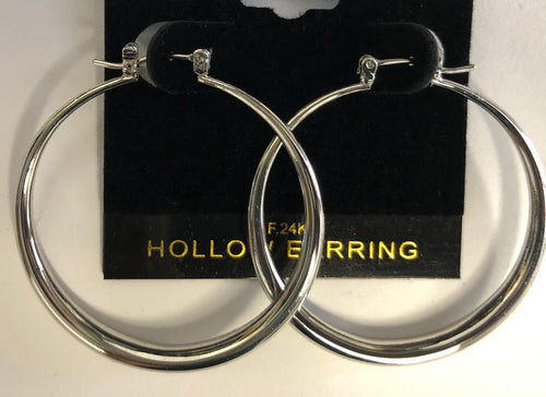 Silver Hollow Hoop Earrings (Small)