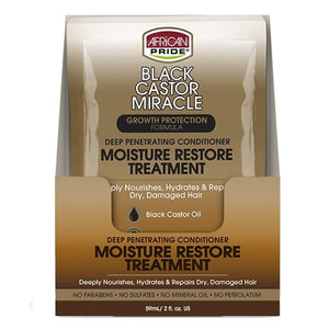 African Pride BLACK CASTOR OIL MIRACLE MOISTURE Restore Treatment Conditioner Pack