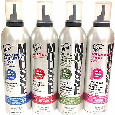 Vigorol Mousse 12oz (Super Hold, Max Shine, Olive Oil, Curls, Relaxed)