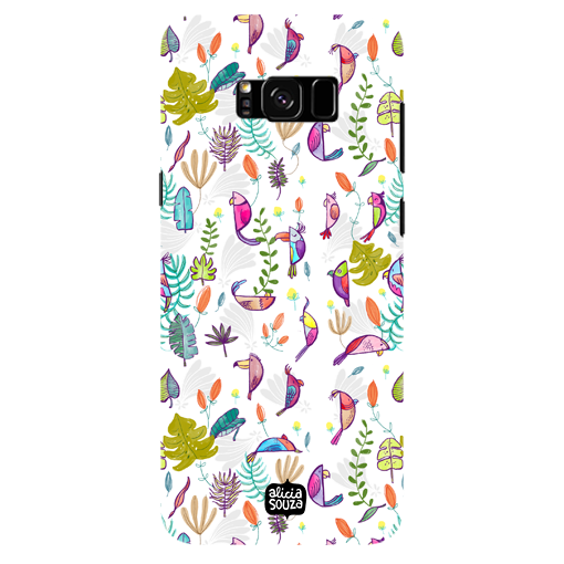 Parrots and Peace White - Samsung Galaxy S8 Plus Phone Cover - Alicia Souza