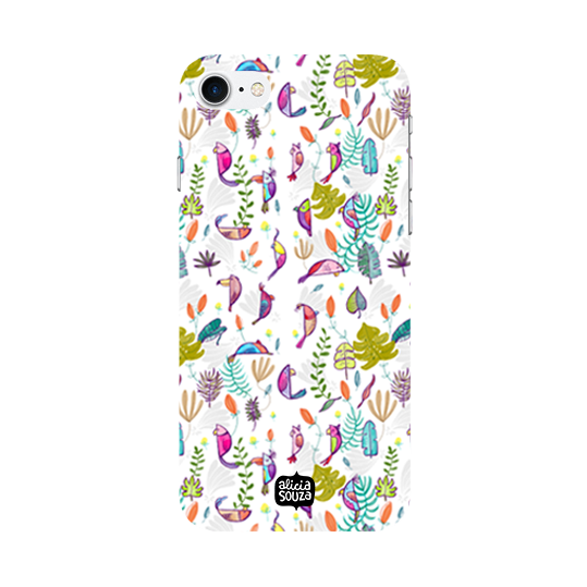 Parrots and Peace White - iPhone 8 Phone Cover - Alicia Souza