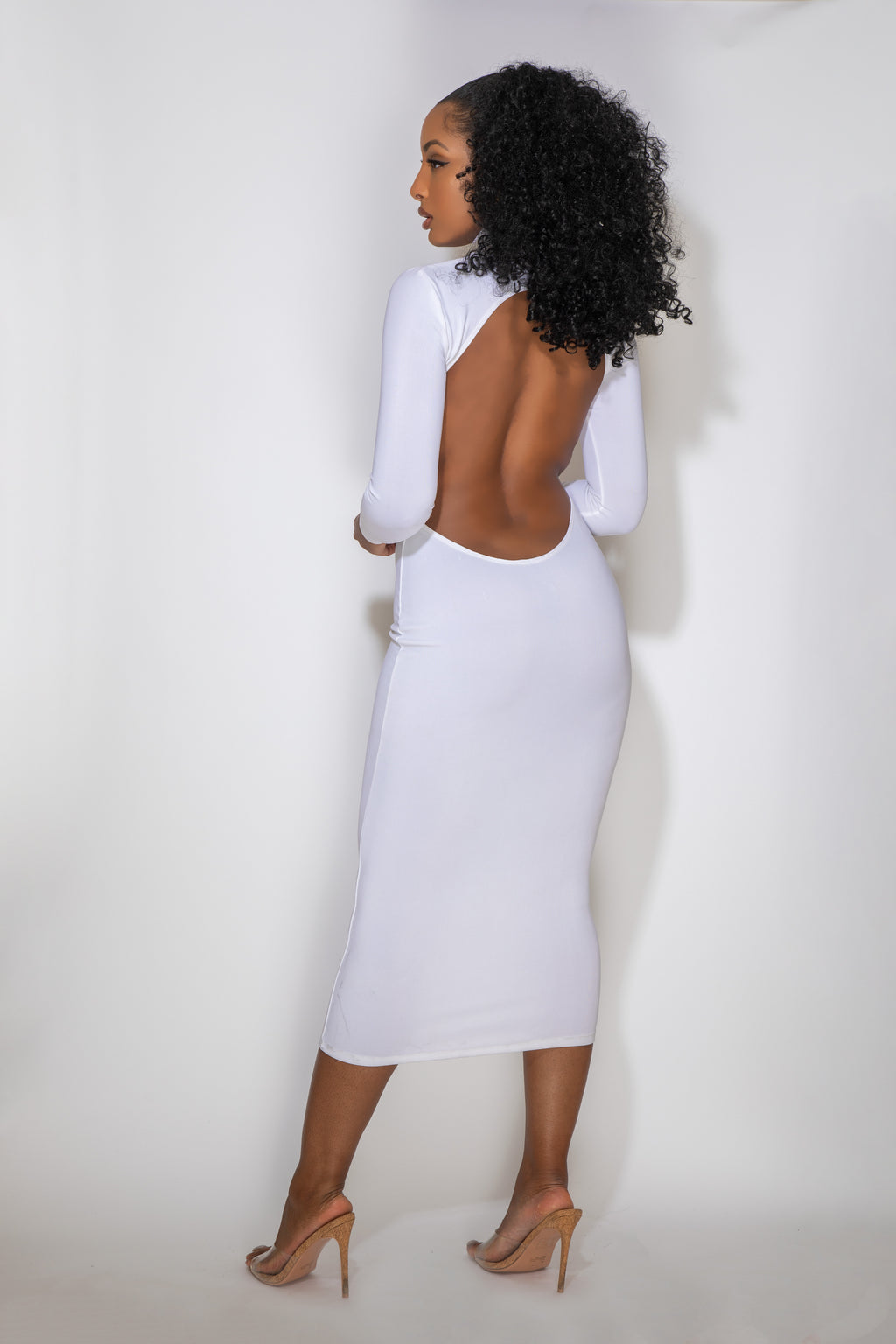MARIA LOW BACK WHITE DRESS