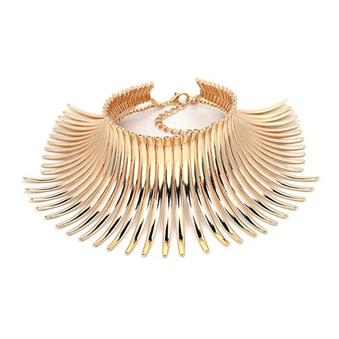 GOLD CHOKER COLLAR CUFF NECKLACE