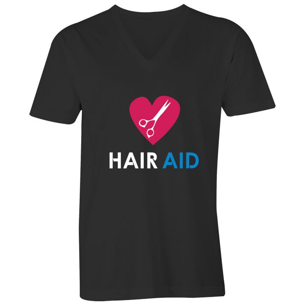 HAIR AID - Black Mens V-Neck Tee