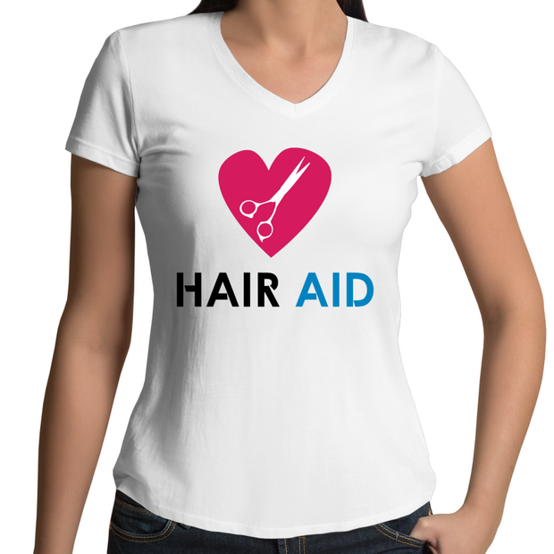 HAIR AID - White Womens V-Neck T-Shirt