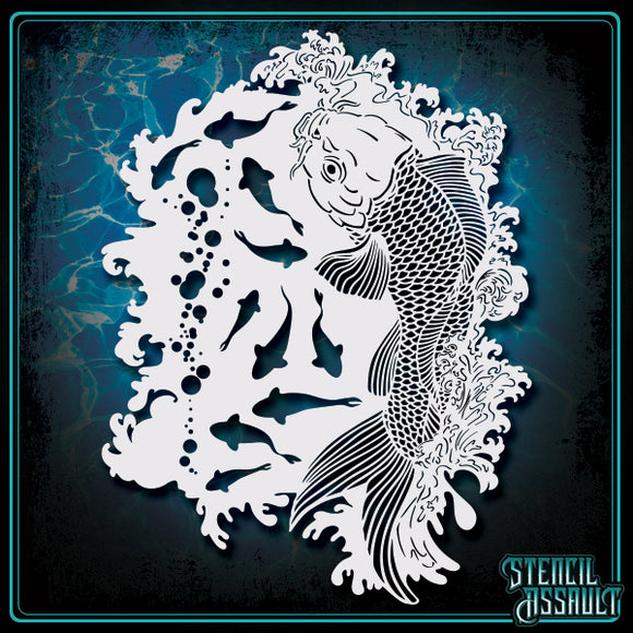 koi fish stencil by stencil assault perfect for airbrushing