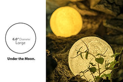 IDEAcone Moon Light Lamp, Luna Moon Lamp, Modern Home 3D Printing Lamp, Warm Yellow Night Light With Wooden Mount (Battery + Chargable) (Large)