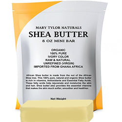 Organic Shea Butter 8 oz Bar by Mary Tylor Naturals, Premium Grade Raw Unrefined Shea Butter, Ivory From Ghana Africa, Amazing Skin Nourishment, Great for Eczema, Stretch Marks and Body Butters