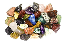 "2 Pounds (BEST VALUE) Bulk Rough INDIA Stone Mix - Over 25 Stone Types - Large 1"" Natural Raw Stones & Fountain Rocks - Mystic Mind Productions"