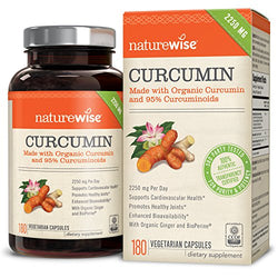 NatureWise Organic Curcumin Turmeric with 95% Curcuminoids, 2250mg Max Serving Per Day From Three 750mg Capsules, High Absorption BioPerine Black Pepper for Inflammation & Joint Support