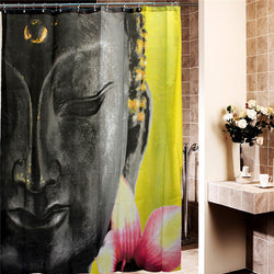 180 x 200cm Waterproof Polyester Buddha Shower Curtain - Mystic Mind Productions