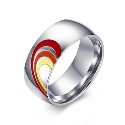 Stainless Steel His & Hers Rainbow Love Heart Ring