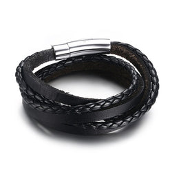 Men's Braided Leather Multi-Layer Wrap Weave Bracelet