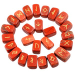 (25Pc) Rune Stones Set Healing Reiki Tumbled Stones Engraved Lettering - Mystic Mind Productions