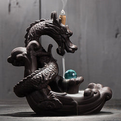 Coiled Dragon And Crystal Ceramic Back-Flow Incense Burner Holder - Mystic Mind Productions
