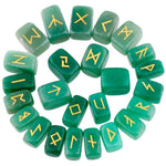 1Lot (25Pc) Natural Green Aventurine Engraved Rune Stones Set - Mystic Mind Productions