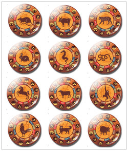 The 12 Chinese Zodiacs 30 MM Fridge Magnet