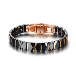 Men Stainless Steel 2-Tone Ceramic Magnetic Therapy Bracelet