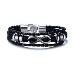 Men's Multi-Strand Leather Braided Infinity Bracele