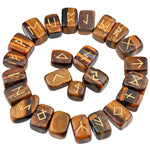 (25Pc) Tiger's Eye Stone Engraved Rune Stones