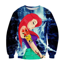 Inked Areal Model Print Sweater