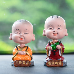 Bobble Head Monk Buddha Figurine Car Ornaments - Mystic Mind Productions
