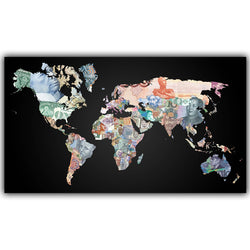 Large National Bank Notes World Map Poster