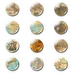 12pcs Medieval World Map 25MM Fridge Magnet Vintage Map Glass Dome - Mystic Mind Productions