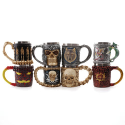 Personalized Skull Mugs Double Wall Creative Stainless Steel Knight Tankard Dragon Coffee Cup