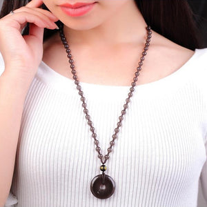 Collar Obsidiana Natural Unisex