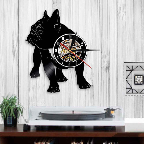 Dog Vinyl Record Wall Clock - French Bulldog