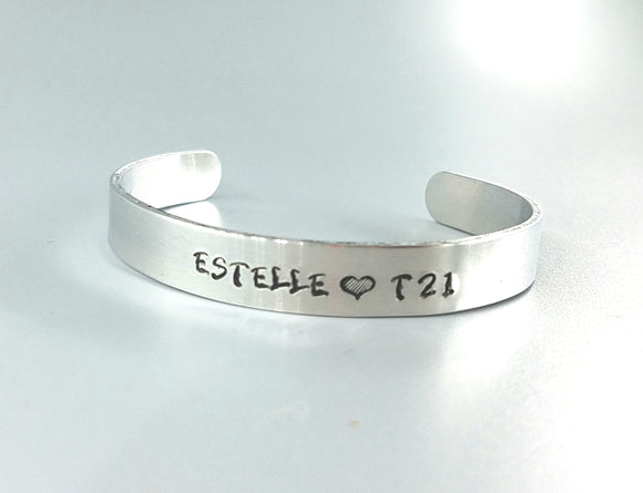 Down Syndrome awareness jewelry personalized name bracelet