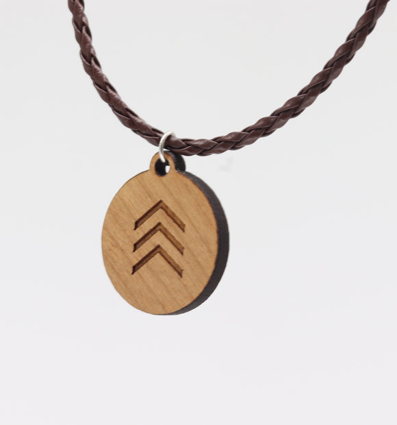 5f666e3c2c7a7 Down Syndrome Awareness 3 Arrows Omne Trium Perfectum Wooden Pendant  Necklace