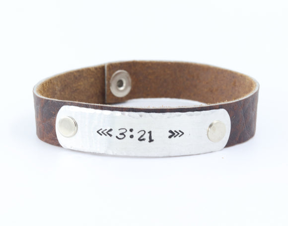 Down Syndrome Awareness bracelet arrows -3.21 Leather Plate