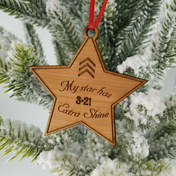 Down syndrome Christmas ornament- shining star