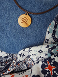 Down Syndrome Awareness 3 Arrows Omne Trium Perfectum Wooden Pendant Necklace